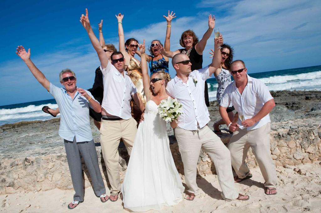 group shot, beach, mexico, destination wedding