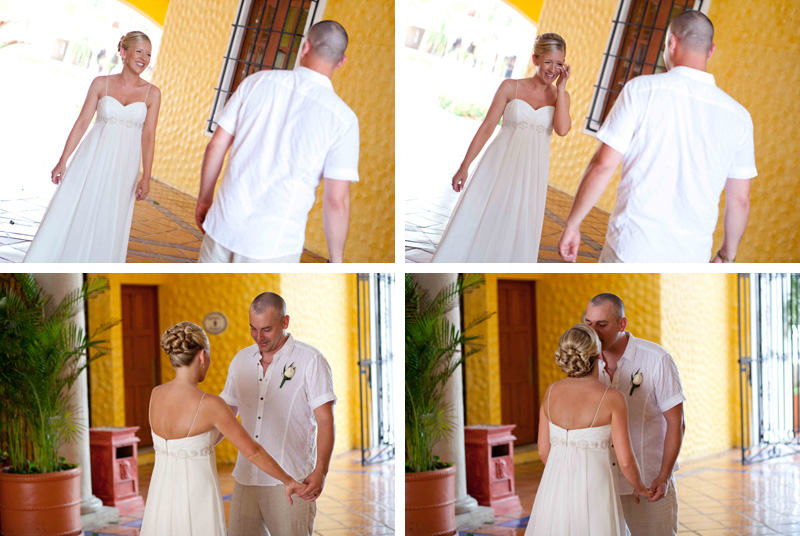 destination wedding mexico, first look, gran bahia, mayan riviera