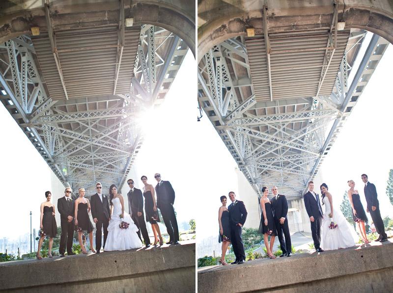 wedding photography, wedding photographer, vancouver, bridge, urban, city