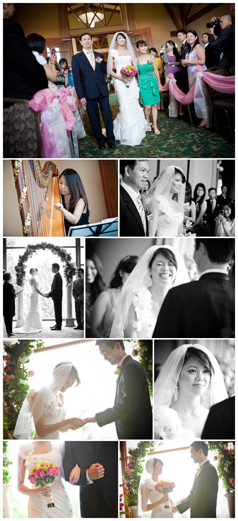 ceremony, westwood plateau, wedding ceremony, coquitlam, indoor, golf course, harp, vows, wedding photos, wedding photography