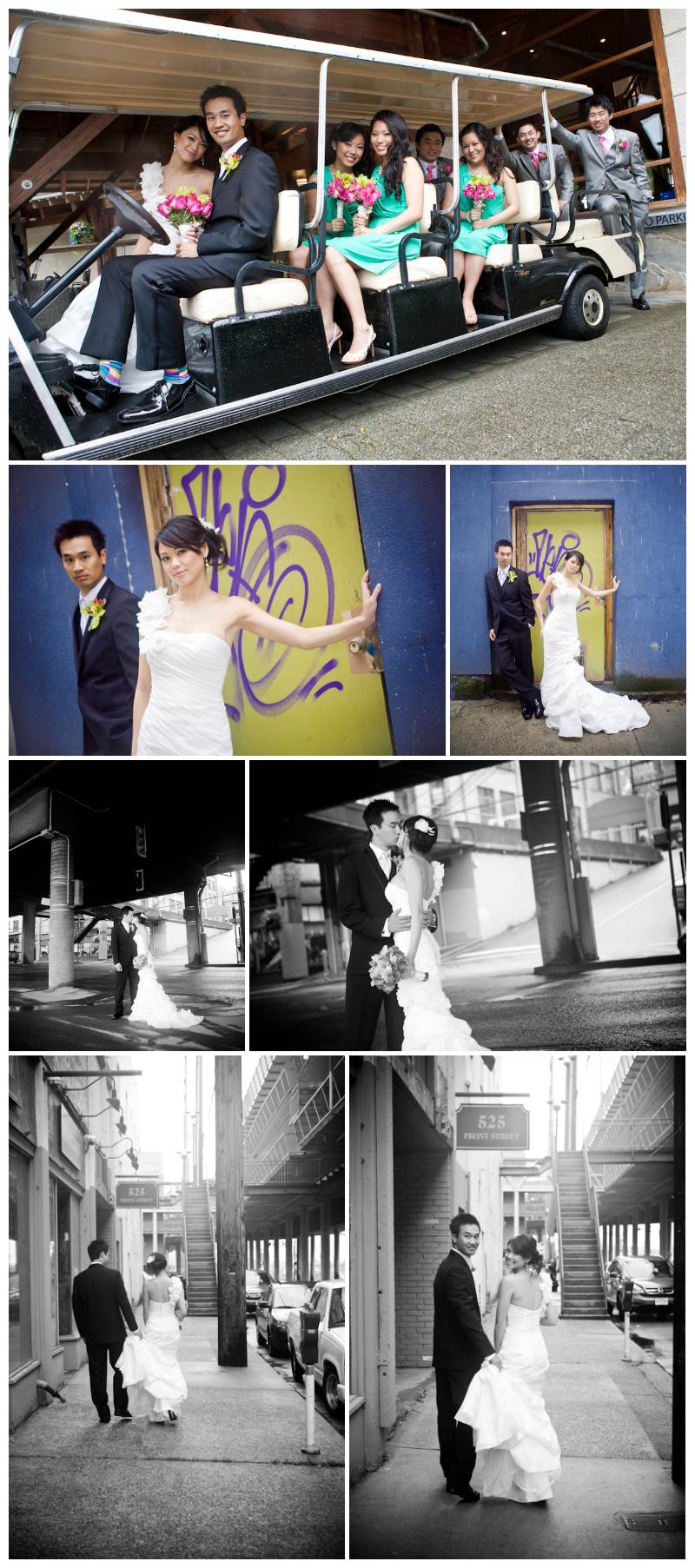 golf cart, bridal party, wedding portraits, wedding photos, urban, alley, new west, hip, b&w, front st, wedding photography