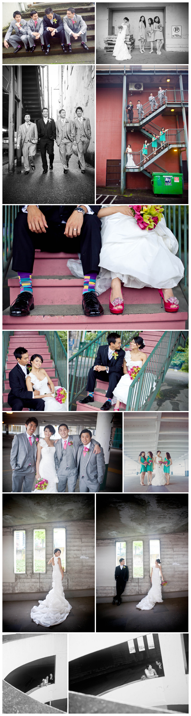 wedding photos, wedding photography, new west, new westminister, parkade, alley, stairs, wedding party, bridesmaids, groomsmen, pink shoes, striped socks, colour, urban, bouquet, hip, jayna marie, hair, makeup