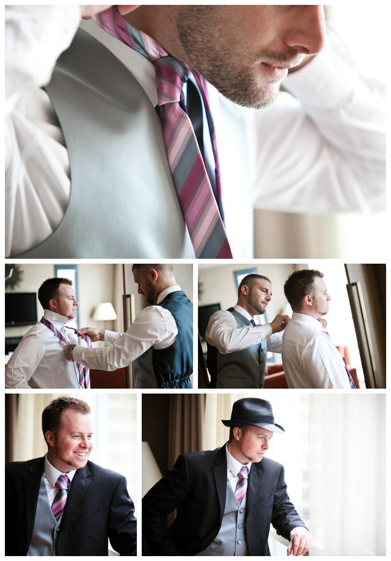 vancouver wedding photographer, loden hotel wedding, wedding, guys getting ready, ties, fedora, window light, hotel