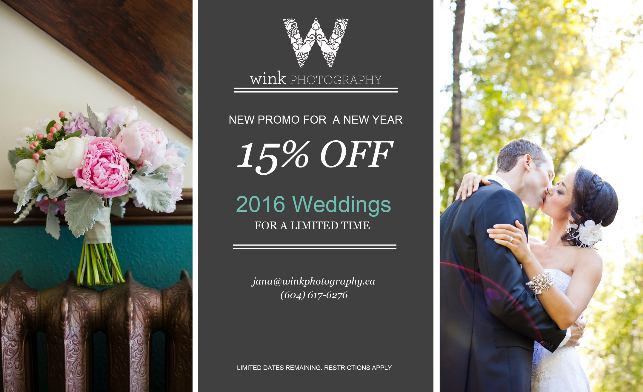Simple wedding photography coupon