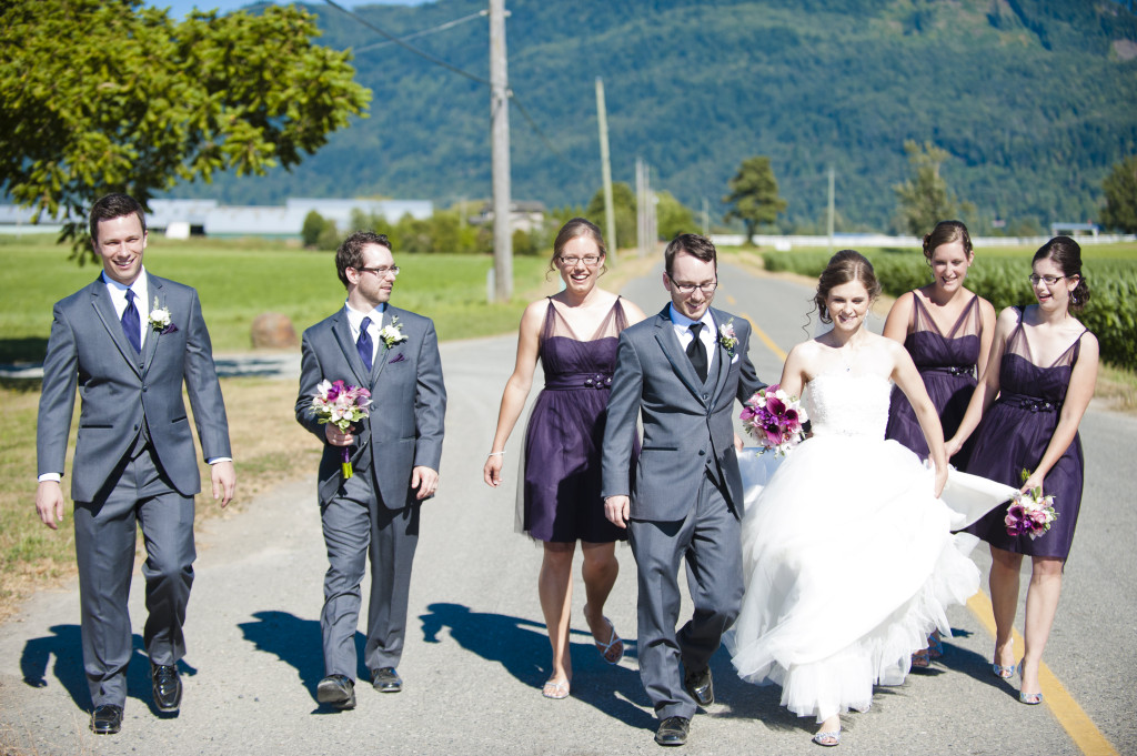 wedding party on road abbotsford