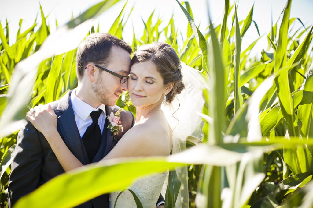 corn field wedding photo, bride and groom portrait
