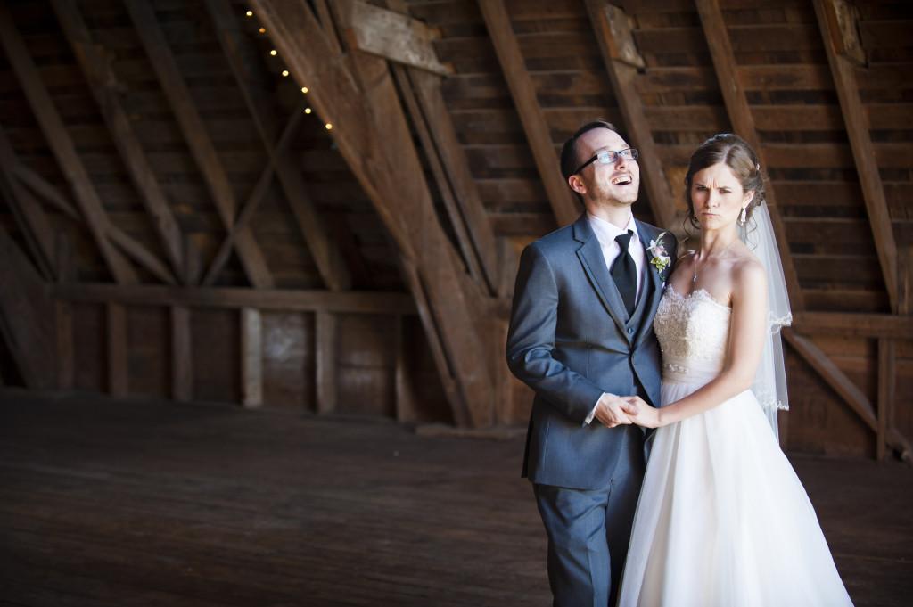 wedding couple outtake laugh, barn wedding