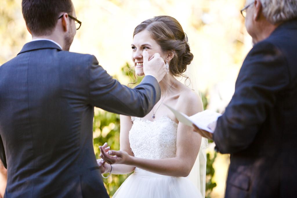 groom wipes bride's tear, abbotsford wedding