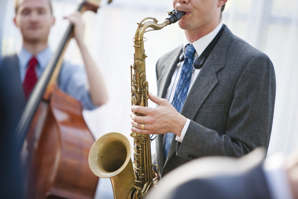 saxophone player, wedding band, 3 piece band at wedding reception