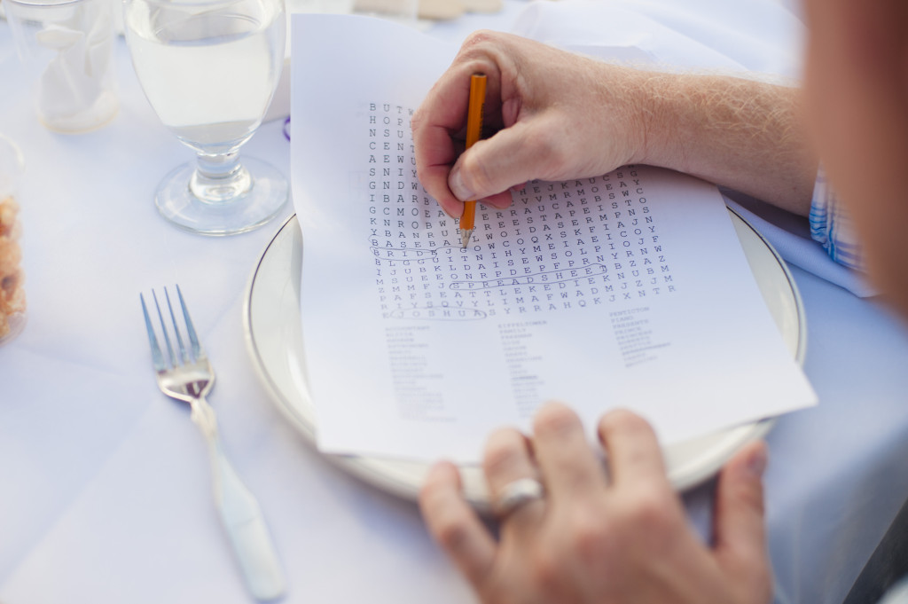 word search games for guests at wedding reception