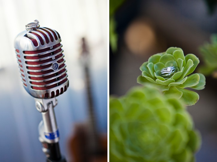 ring photos on succulent and vintage microphone