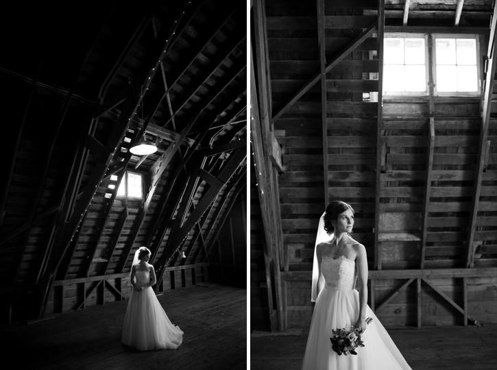 bride in barn at saar bank farms chilliwack