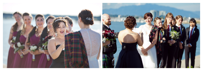 lesbian wedding ceremony vows outdoor at ubc boathouse