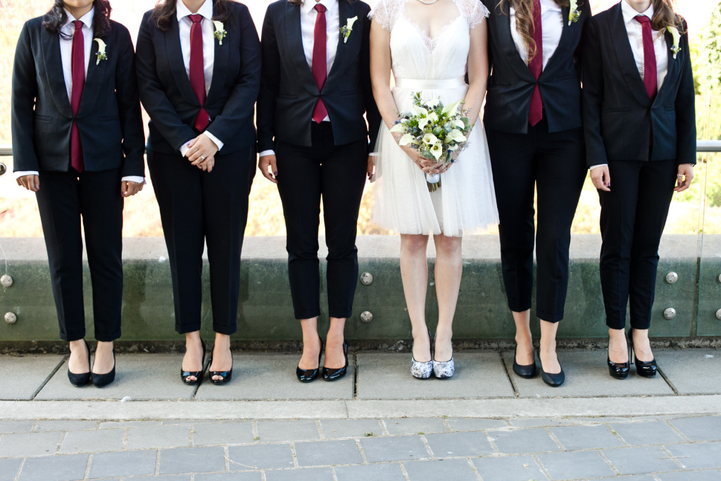 bridesmaids in suits lgbt wedding