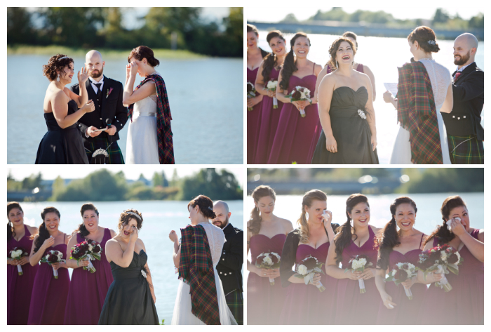 outdoor lesbian wedding ceremony at UBC Boathouse Richmond