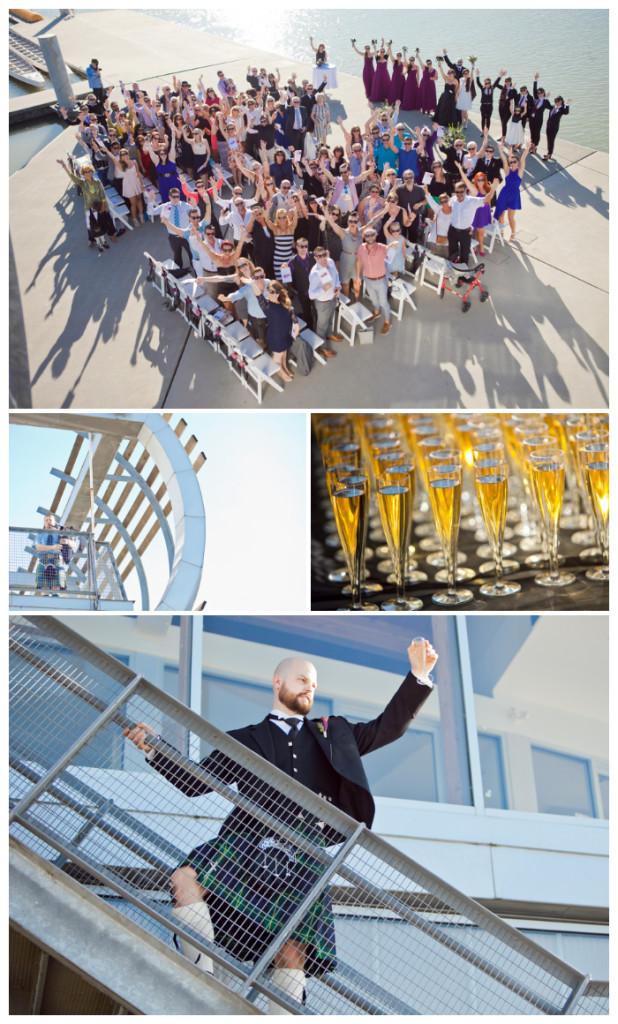 group shot wedding celebration at UBC boathouse with champagne toast