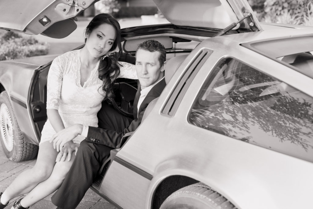 engagement session with vintage cars delorean