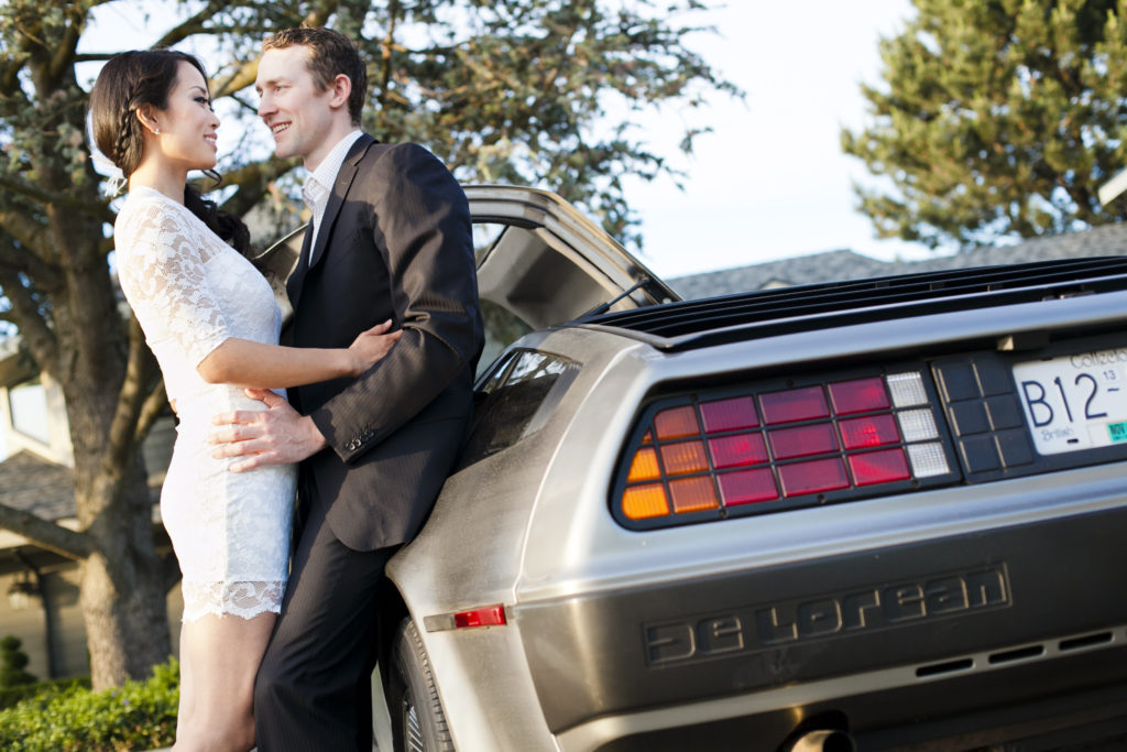 fraser valley engagement session with vintage cars delorean