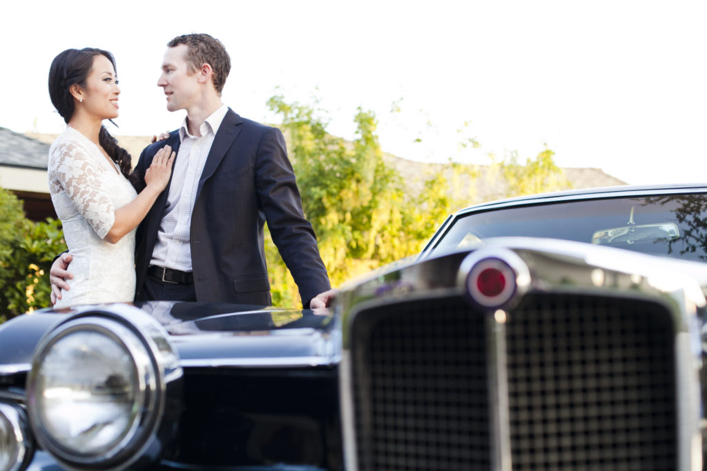 fraser valley engagement session with vintage cars