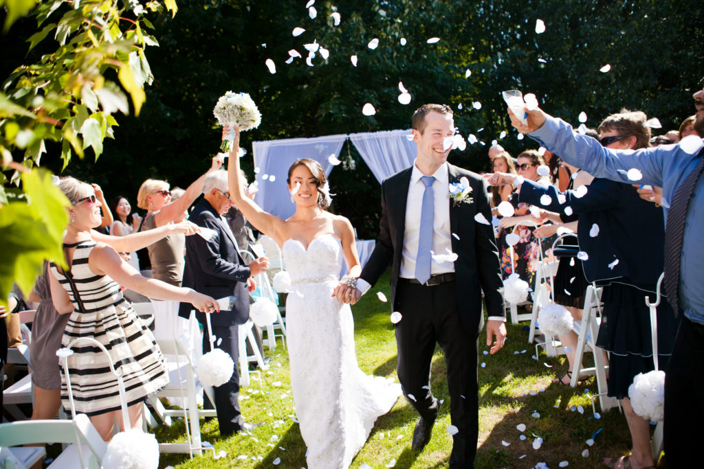 port moody inlet theatre wedding recessional with flower petals