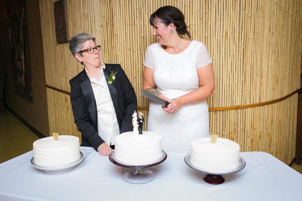tattooed bride, rock n roll bride, edgy same-sex wedding