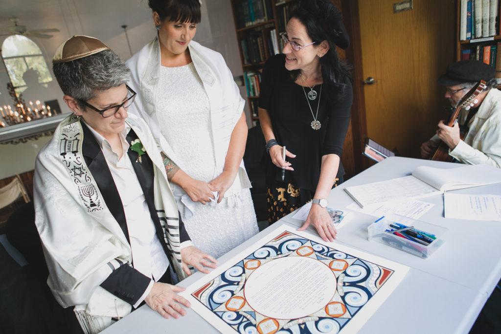 jewish same sex wedding vancouver, ketubah signing at synagogue