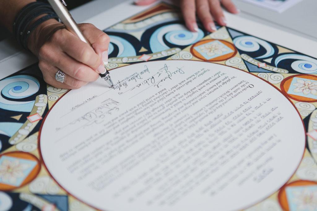 ketubah signing detail, jewish wedding vancouver