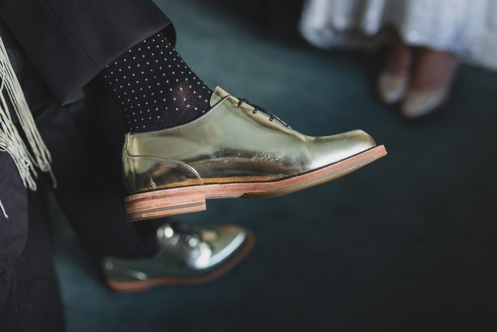 lesbian wedding vancouver, gold wedding shoes