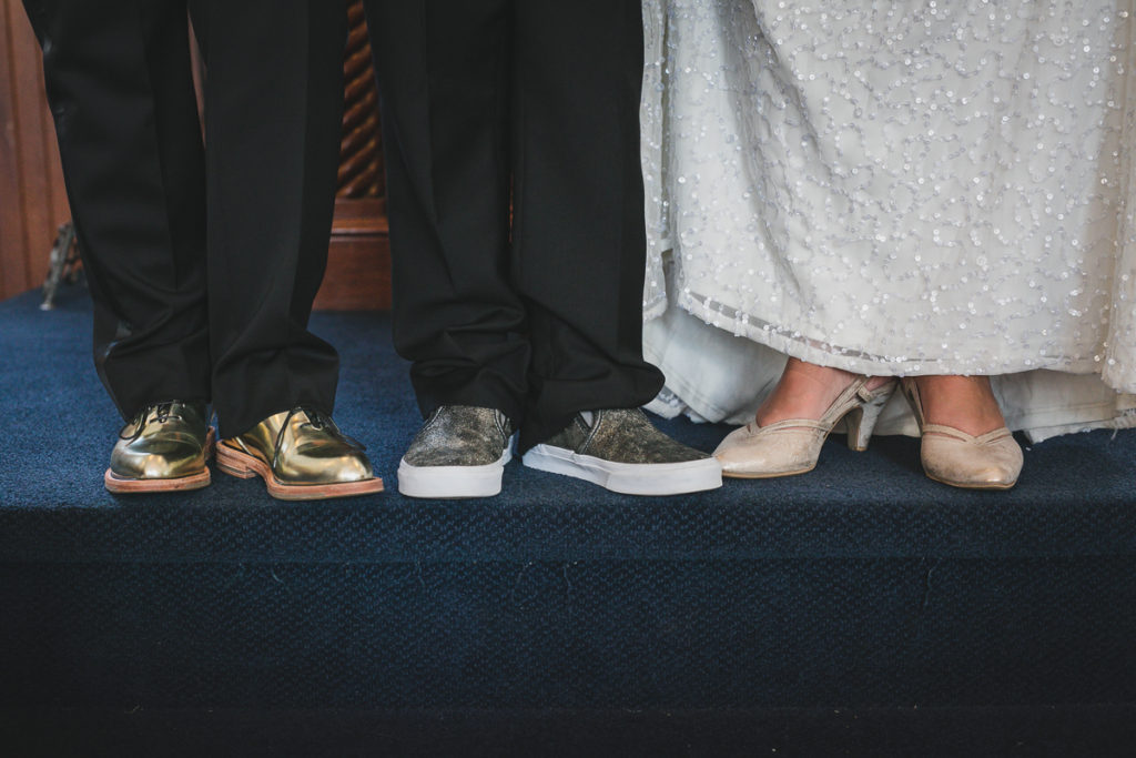 family photos after wedding ceremony, gold wedding shoes