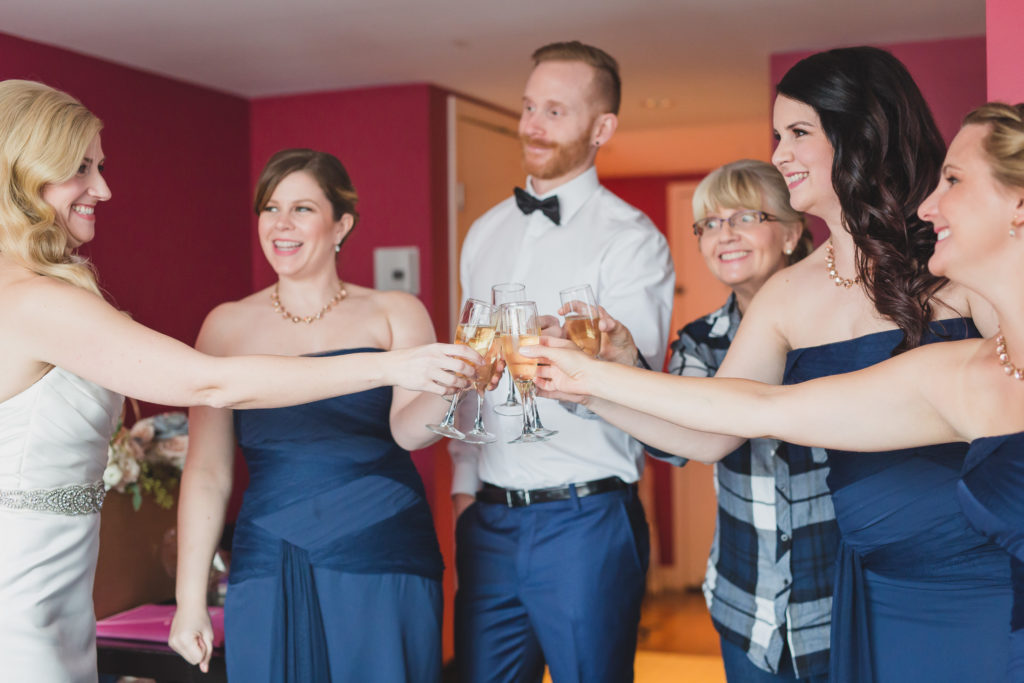 bridal party wedding toast at opus hotel vancouver