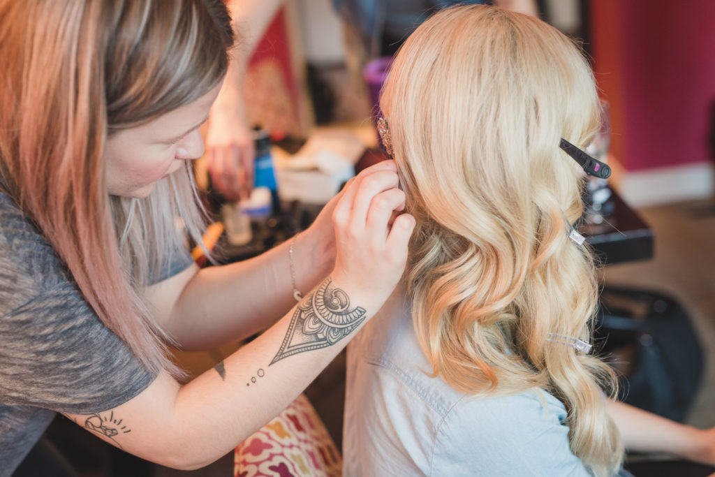 bride getting ready, hair by tessa woychyshyn at stone fox vancouver
