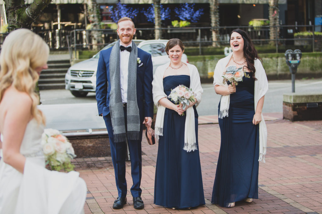 bridal party fun during wedding first look