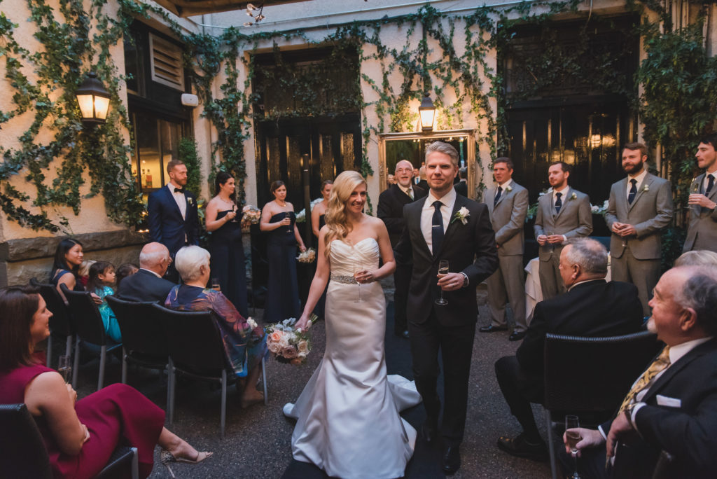 vancouver wedding recessional with champagne
