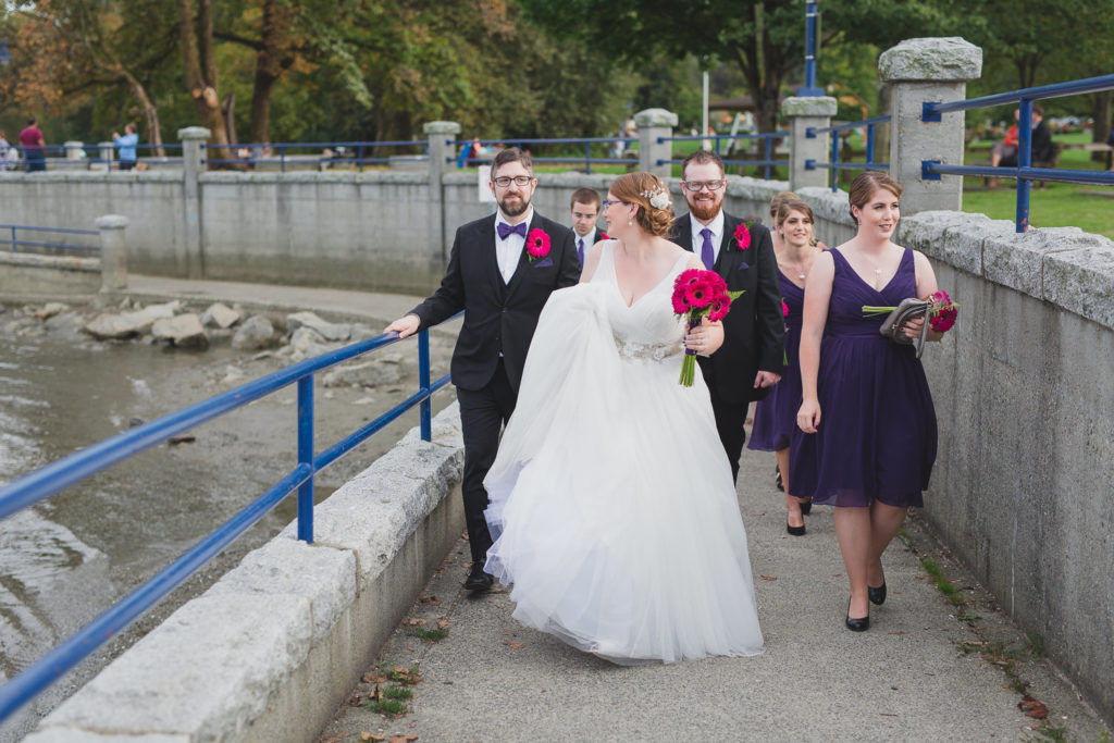 Casual wedding party candid in Rocky Point Park Port Moody