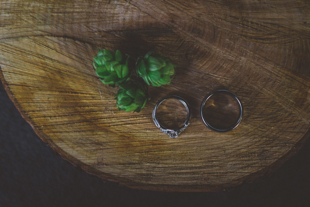 moody wedding ring shot with hops