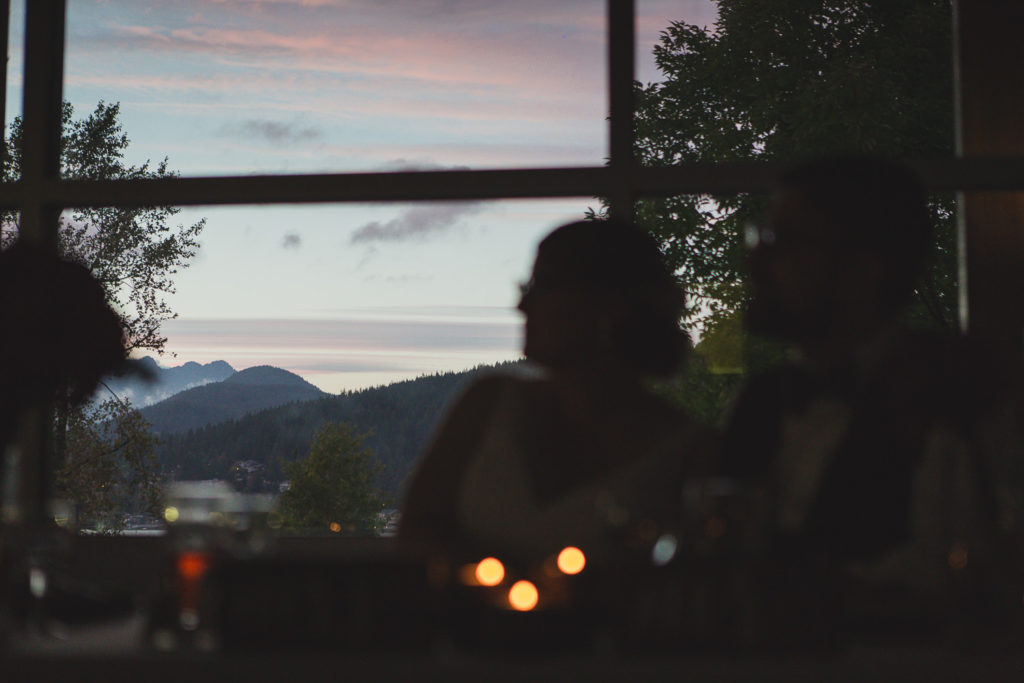 bride and groom at reception with view at their port moody wedding