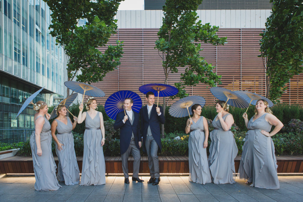 lgbtq wedding vancouver, bridesmaids in vera wang dresses at telus garden wedding