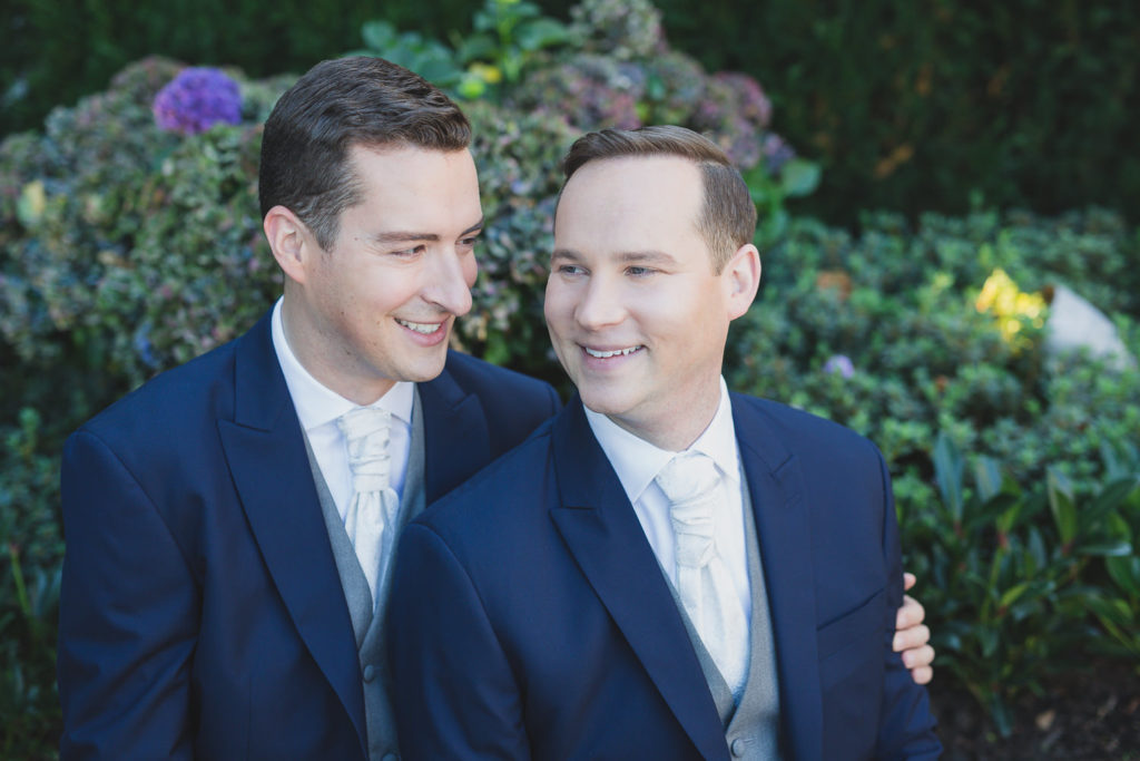 gay wedding photographer vancouver groom and groom portrait at Telus Garden