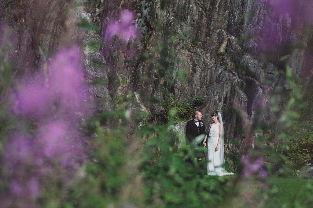 Offbeat wedding photography Squamish rock wall