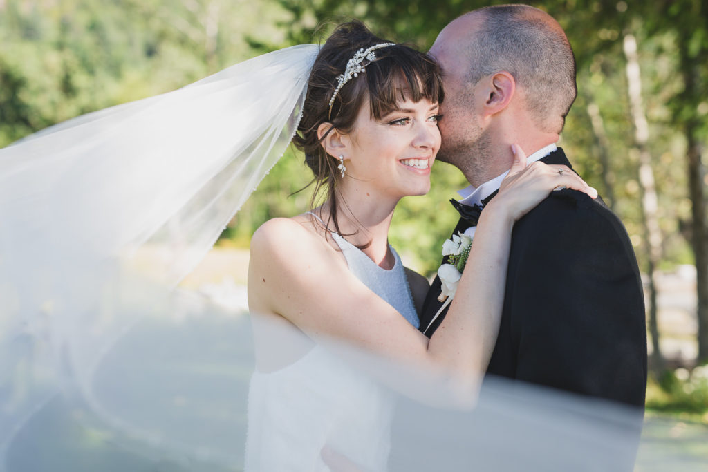 wedding couple veil shot