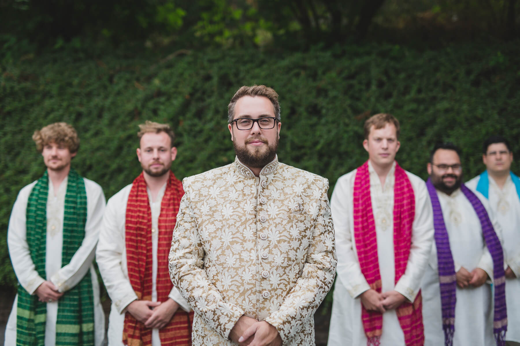groom and groomsmen portrait at vancouver fusion wedding