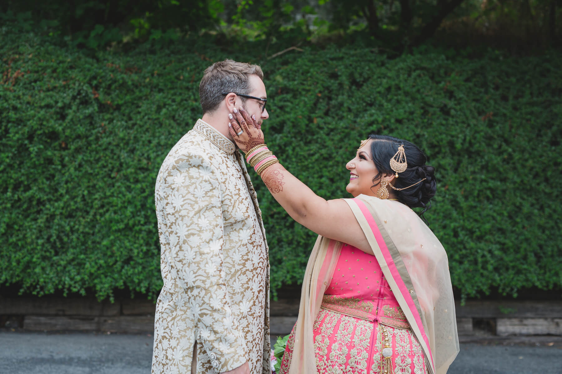 bride and groom first look, fusion wedding in vancouver