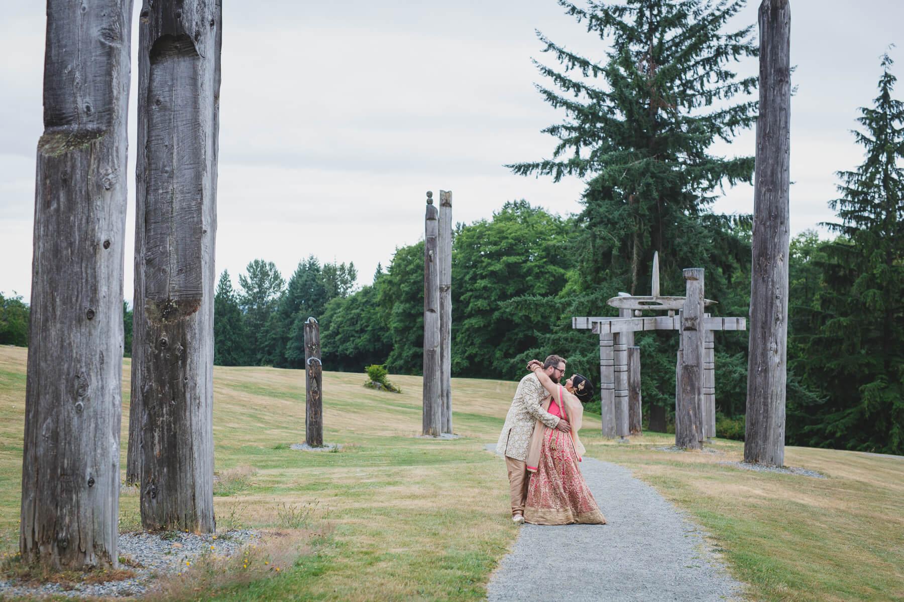 bride and groom portrait burnaby mountain wedding